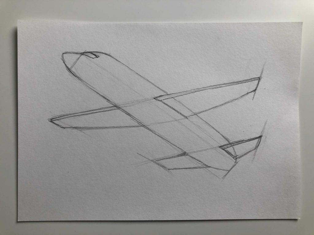 Как нарисовать самолет карандашом поэтапно - летящий самолет 2 этап - фото