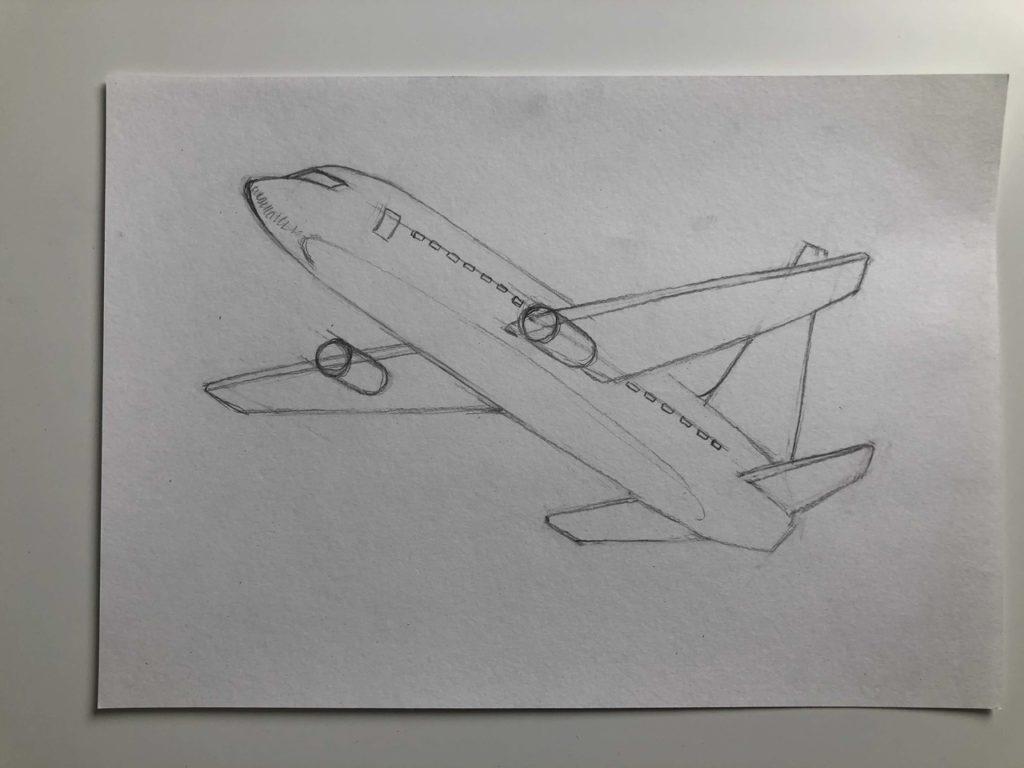 Как нарисовать самолет карандашом поэтапно - летящий самолет 3 этап - фото