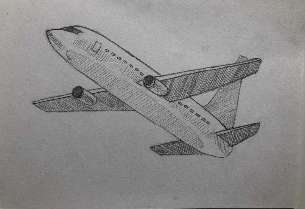 Как нарисовать самолет карандашом поэтапно - летящий самолет 4 этап - фото