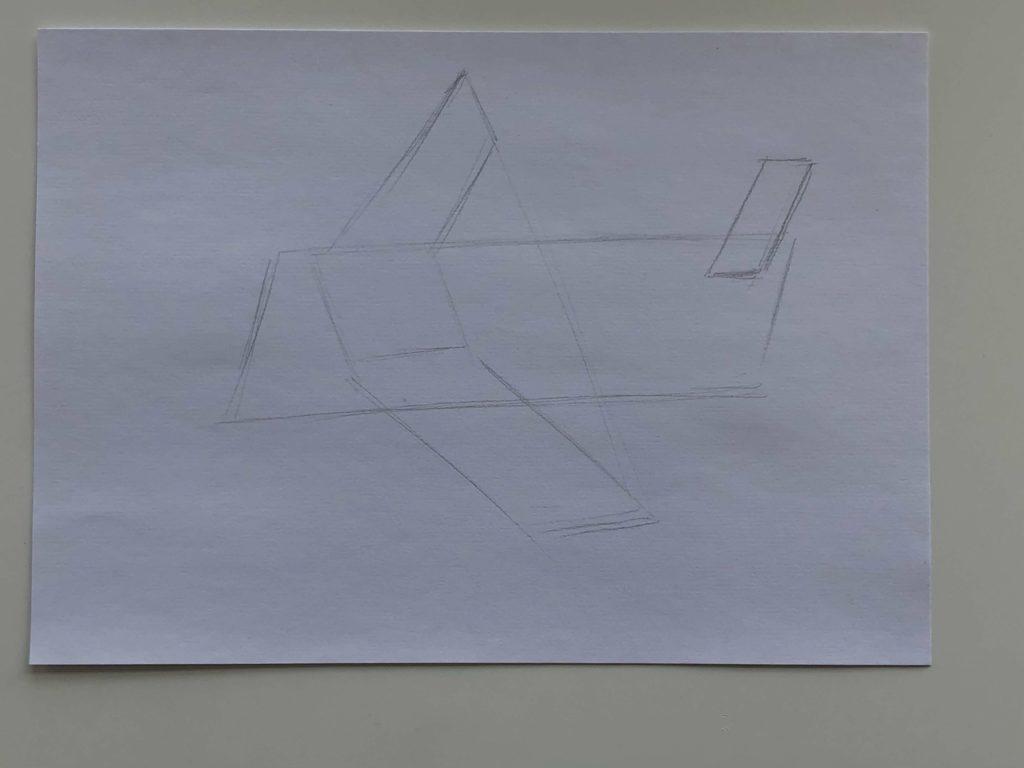 Как нарисовать самолет карандашом поэтапно - простой самолет 1 этап - фото