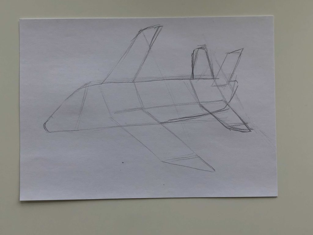 Как нарисовать самолет карандашом поэтапно - простой самолет 2 этап - фото