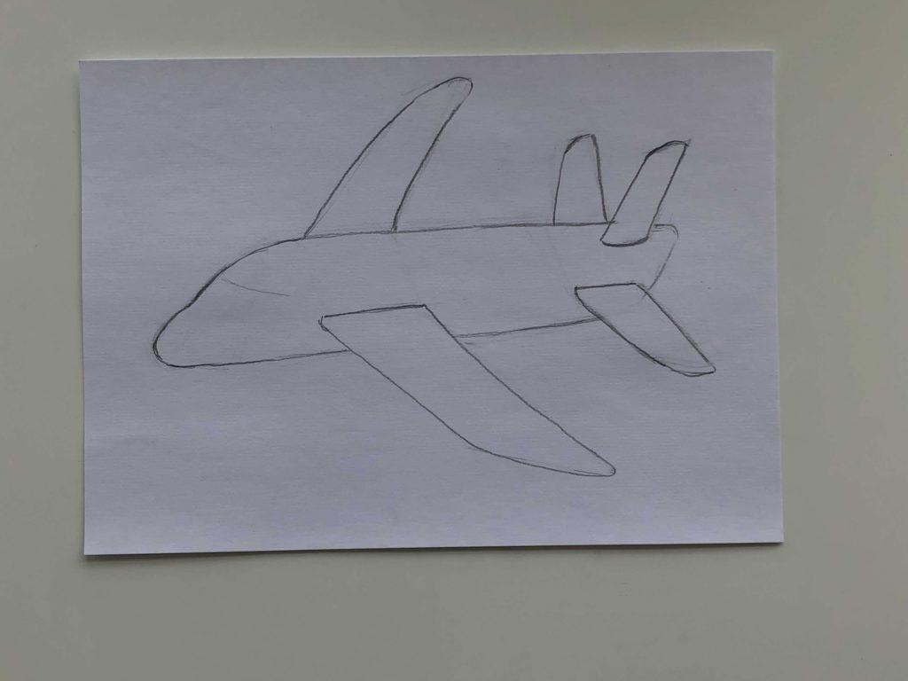 Как нарисовать самолет карандашом поэтапно - простой самолет 3 этап - фото
