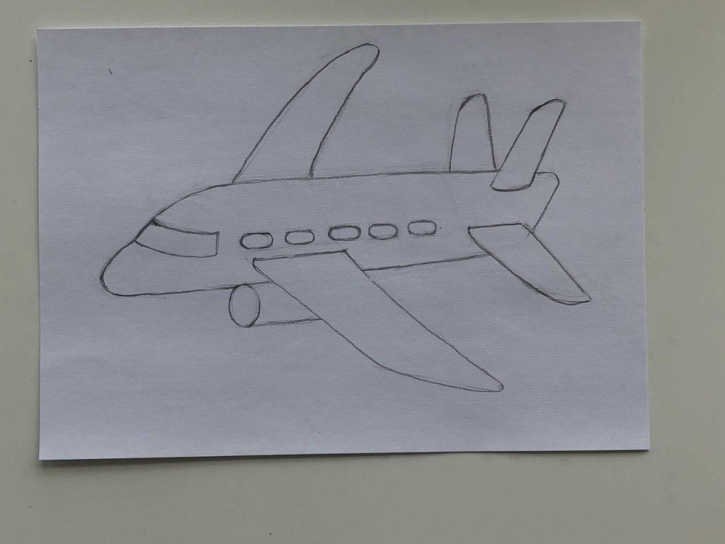 Как нарисовать самолет карандашом поэтапно - простой самолет 4 этап - фото