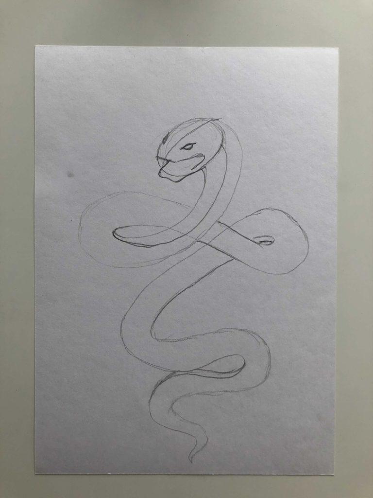 Как нарисовать змею карандашом поэтапно - кобра 2 этап - фото