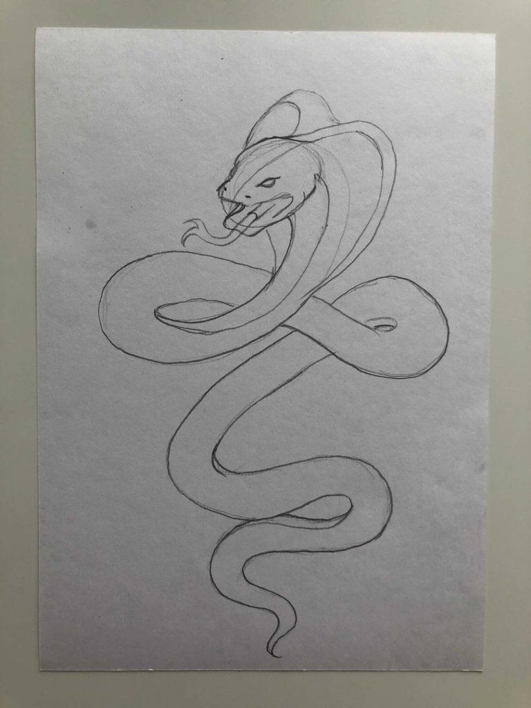 Как нарисовать змею карандашом поэтапно - кобра 3 этап - фото