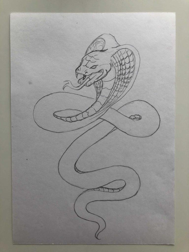 Как нарисовать змею карандашом поэтапно - кобра 4 этап - фото