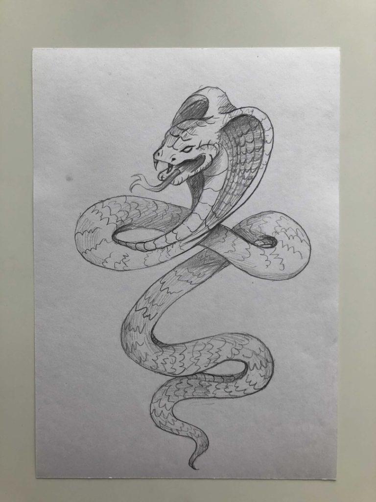 Как нарисовать змею карандашом поэтапно - кобра 5 этап - фото