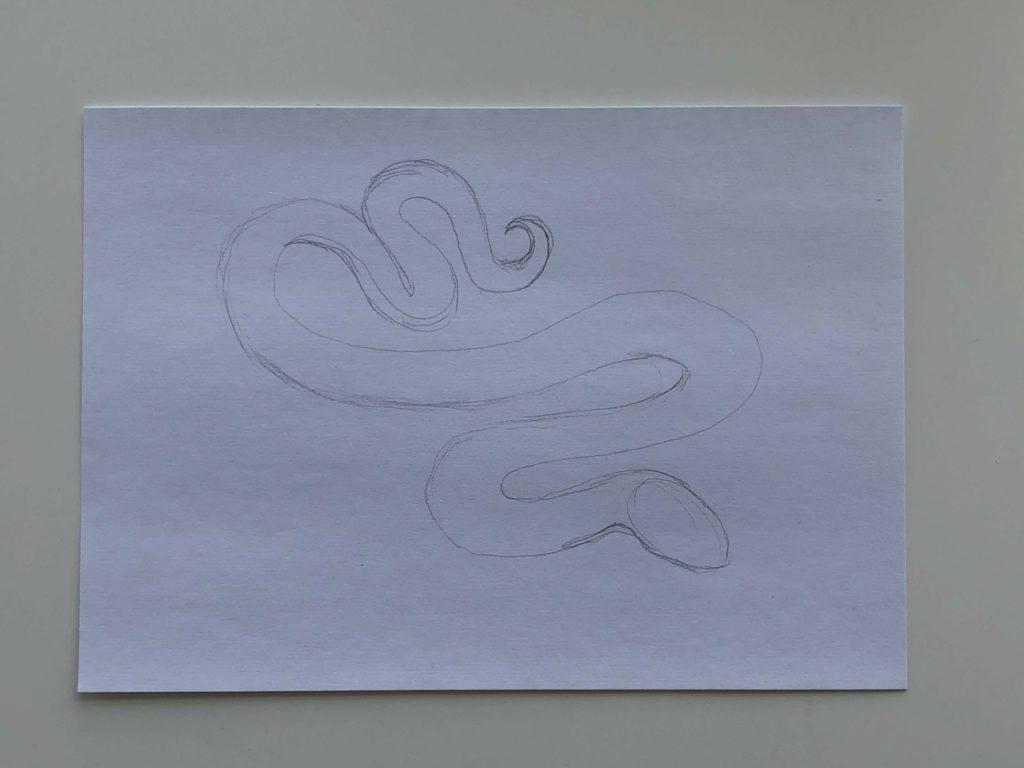 Как нарисовать змею карандашом поэтапно - простая змея 1 этап - фото