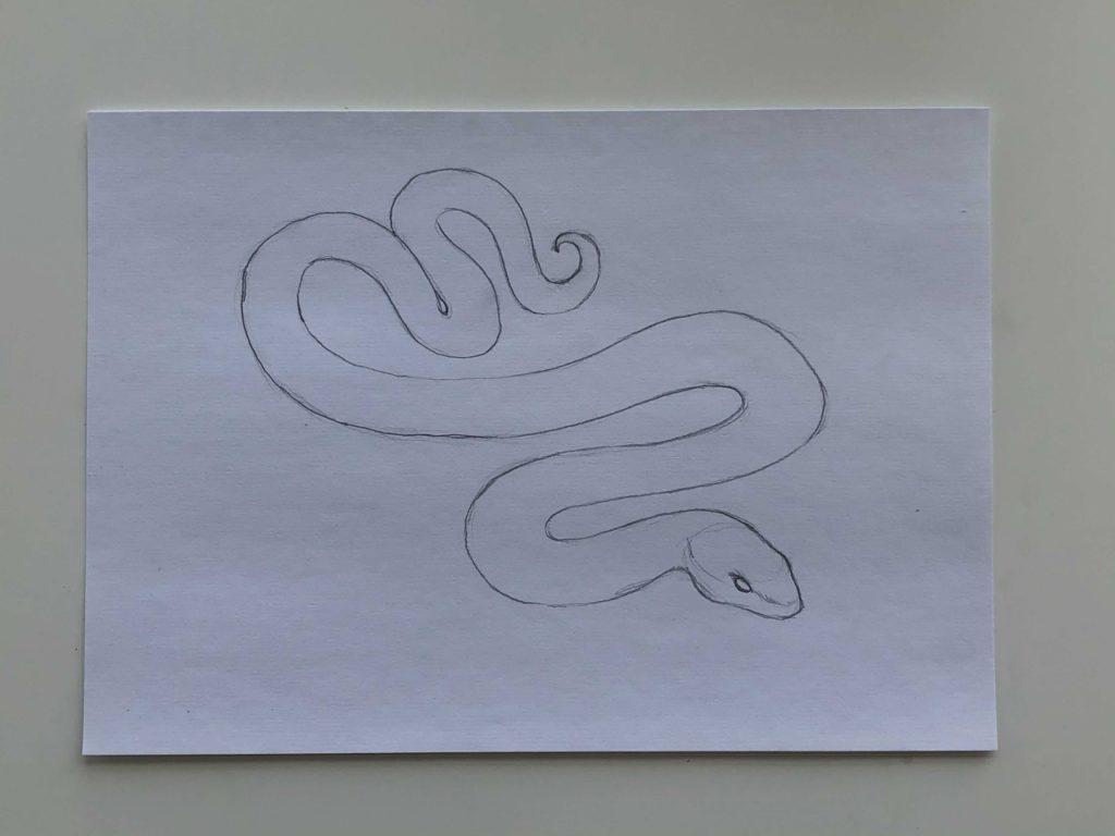 Как нарисовать змею карандашом поэтапно - простая змея 2 этап - фото