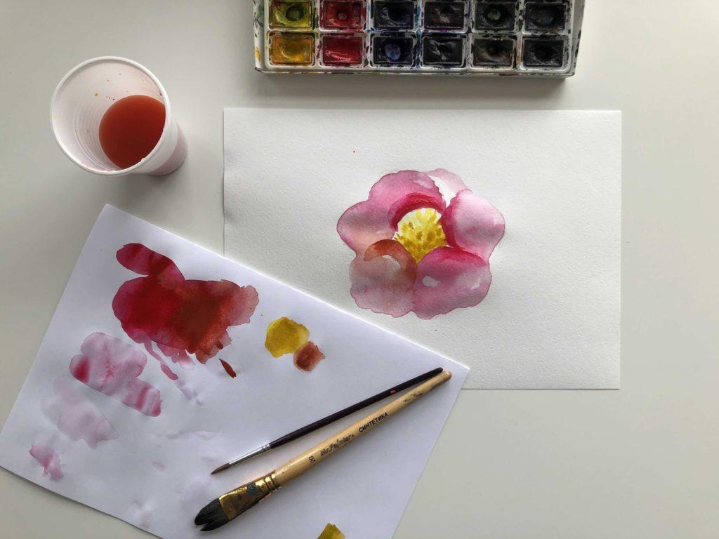 Как научиться рисовать акварелью цветок - завершающий этап - фото