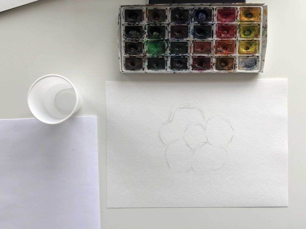 Как научиться рисовать акварелью цветок - 1 этап - фото