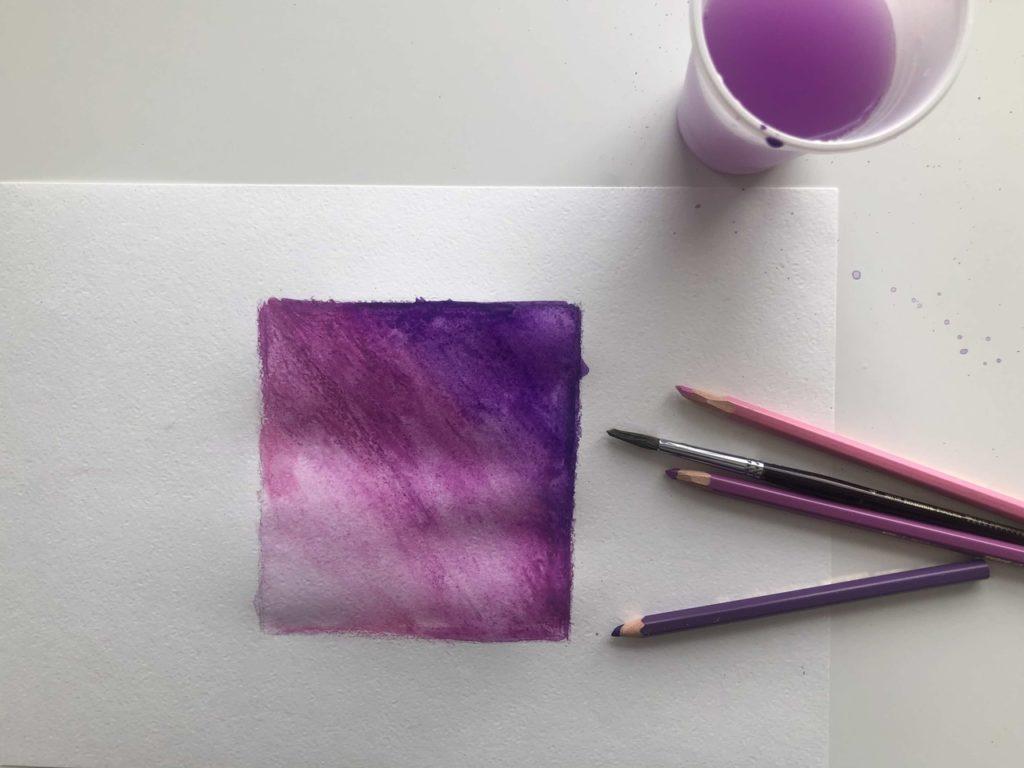 Как рисовать акварельными карандашами - размывание - фото