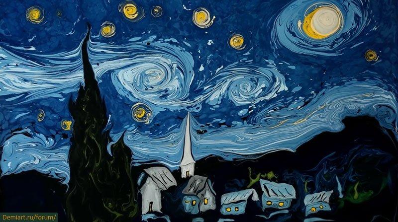 """Рисунок """"Звездная ночь"""" в технике Эбру - фото"""