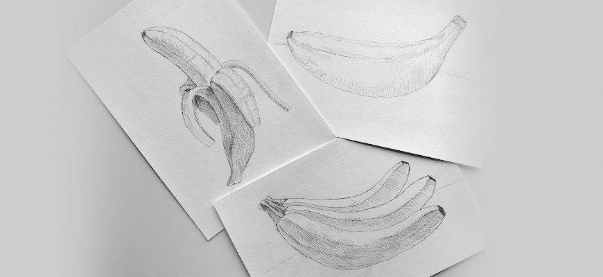 Как нарисовать банан карандашом поэтапно - фото