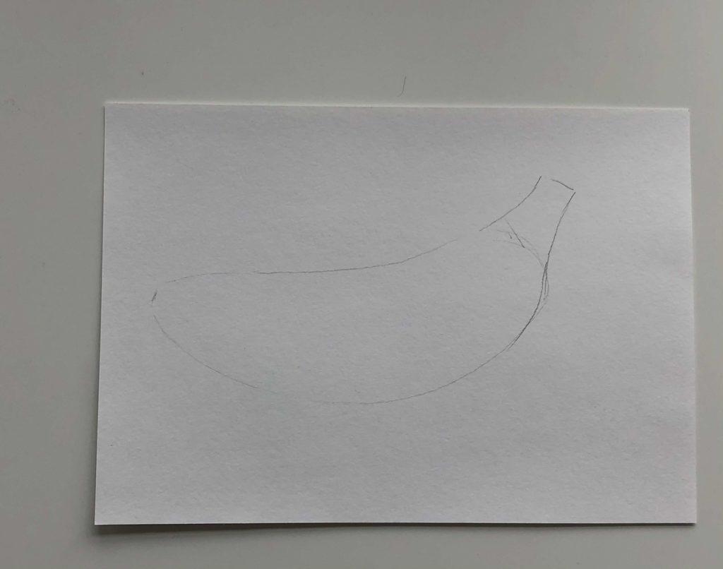 Как нарисовать банан карандашом поэтапно - простой банан 1 этап - фото