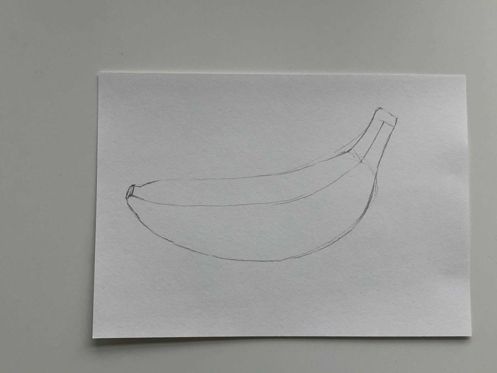 Как нарисовать банан карандашом поэтапно - простой банан 2 этап - фото