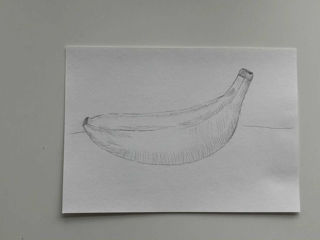 Как нарисовать банан карандашом поэтапно - простой банан 3 этап - фото