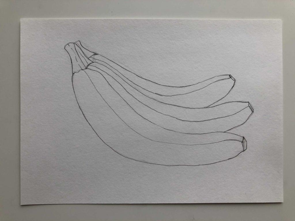 Как нарисовать банан карандашом поэтапно - связка 2 этап - фото