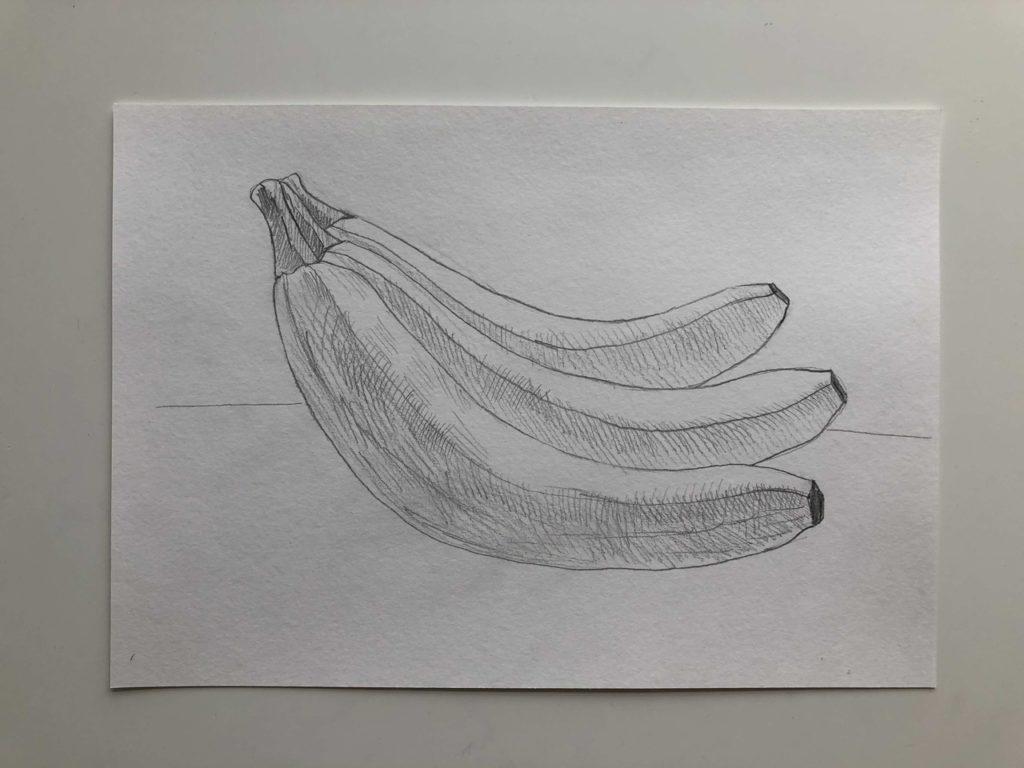 Как нарисовать банан карандашом поэтапно - связка 3 этап - фото