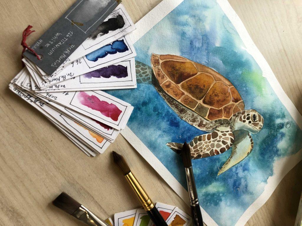 Техники рисования акварелью - мазками и пятнами - фото