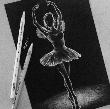 Как и чем рисуют на черной бумаге - белый карандаш - фото