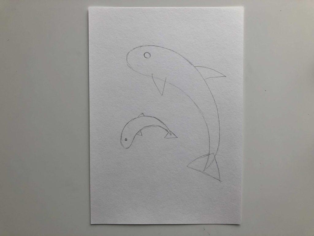 Как нарисовать двух дельфинов - 1 этап - фото