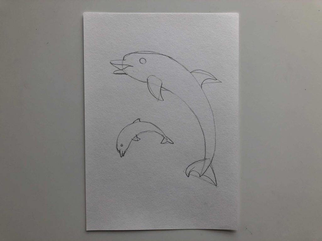 Как нарисовать двух дельфинов - 2 этап - фото