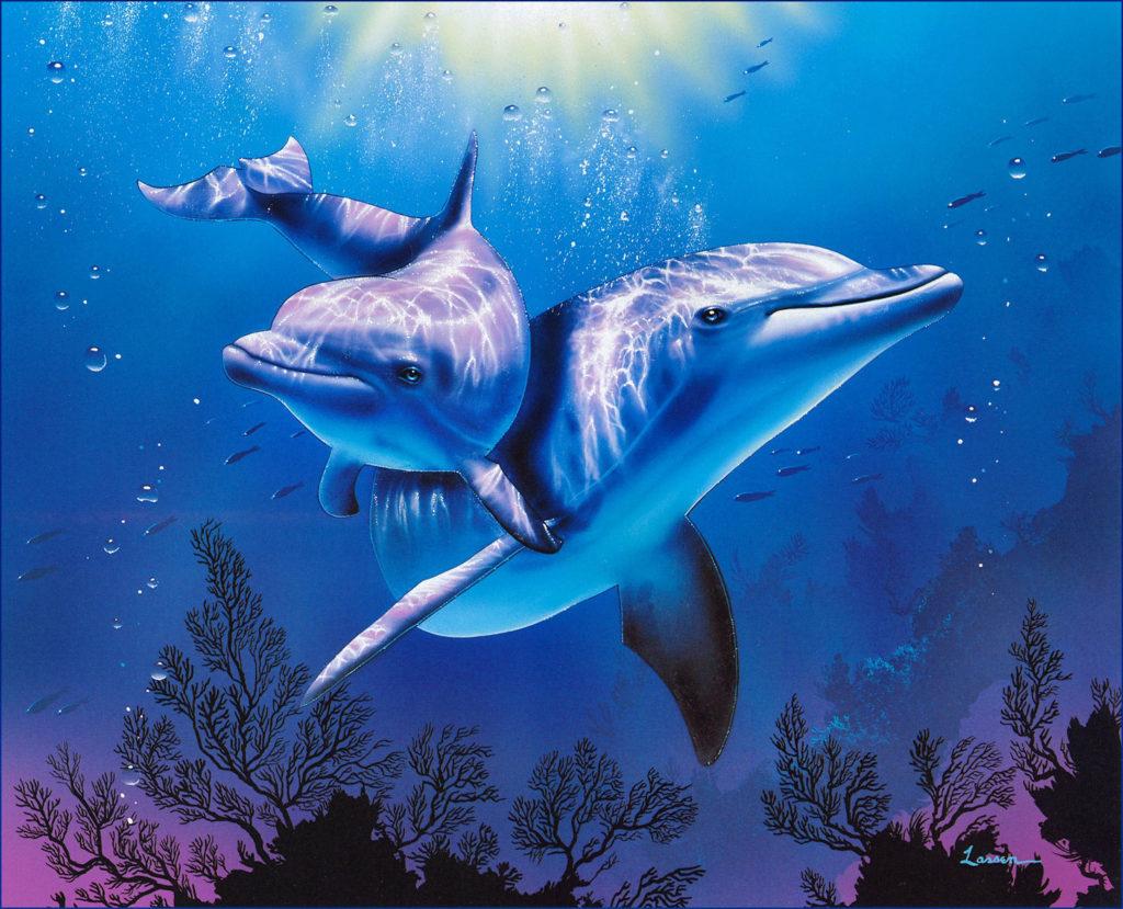 Идеи с фото для рисования дельфина - сложный рисунок с двумя дельфинами - фото