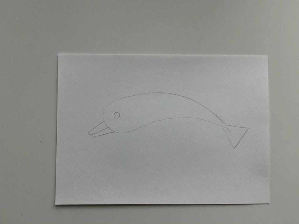 Простой способ нарисовать дельфина - 1 этап - фото