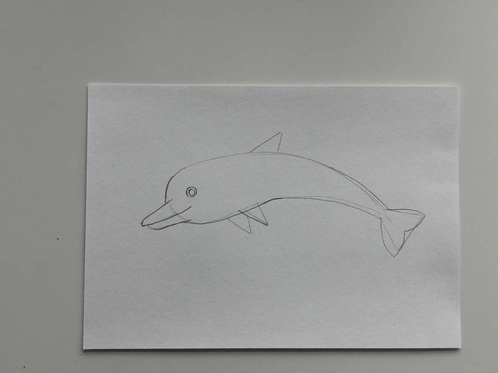 Простой способ нарисовать дельфина - 2 этап - фото
