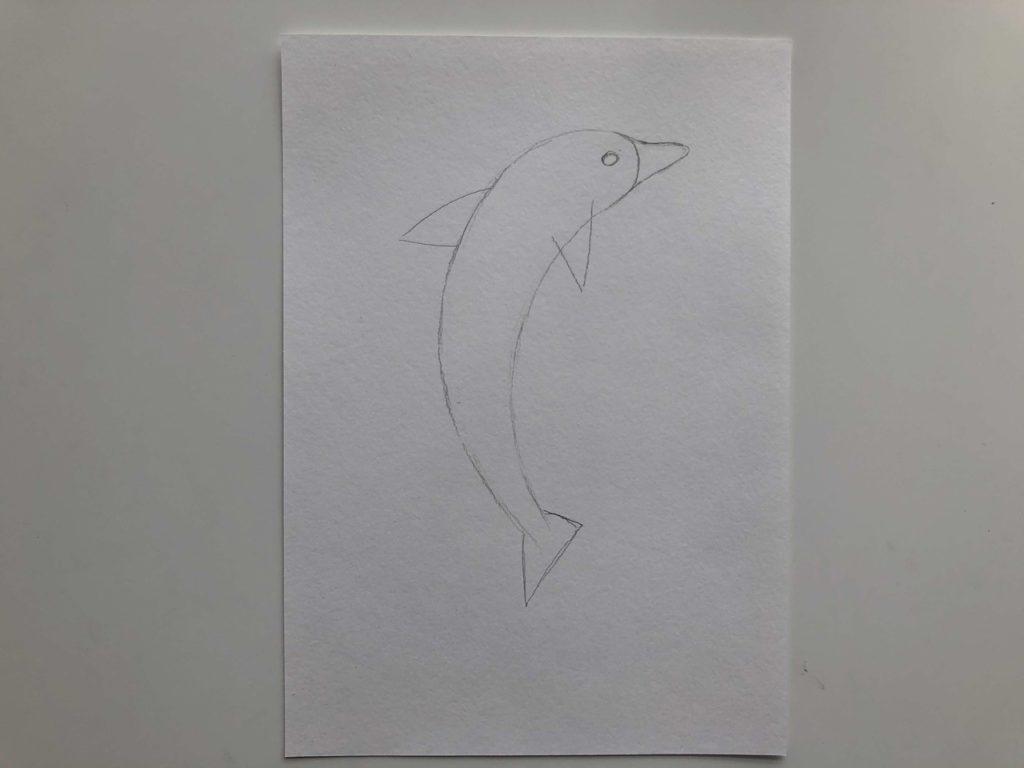 Как нарисовать дельфина цветными карандашами - 1 этап - фото