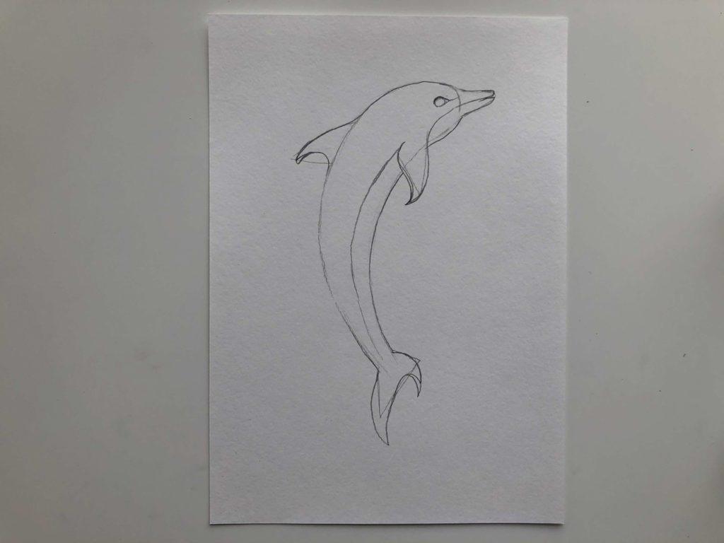 Как нарисовать дельфина цветными карандашами - 2 этап - фото