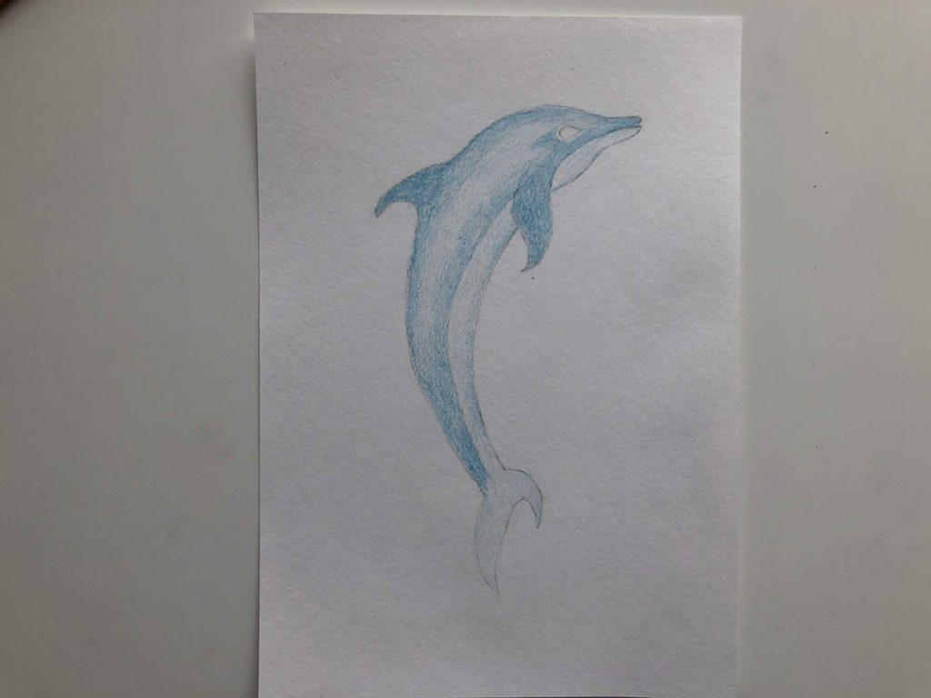 Как нарисовать дельфина цветными карандашами - 3 этап - фото