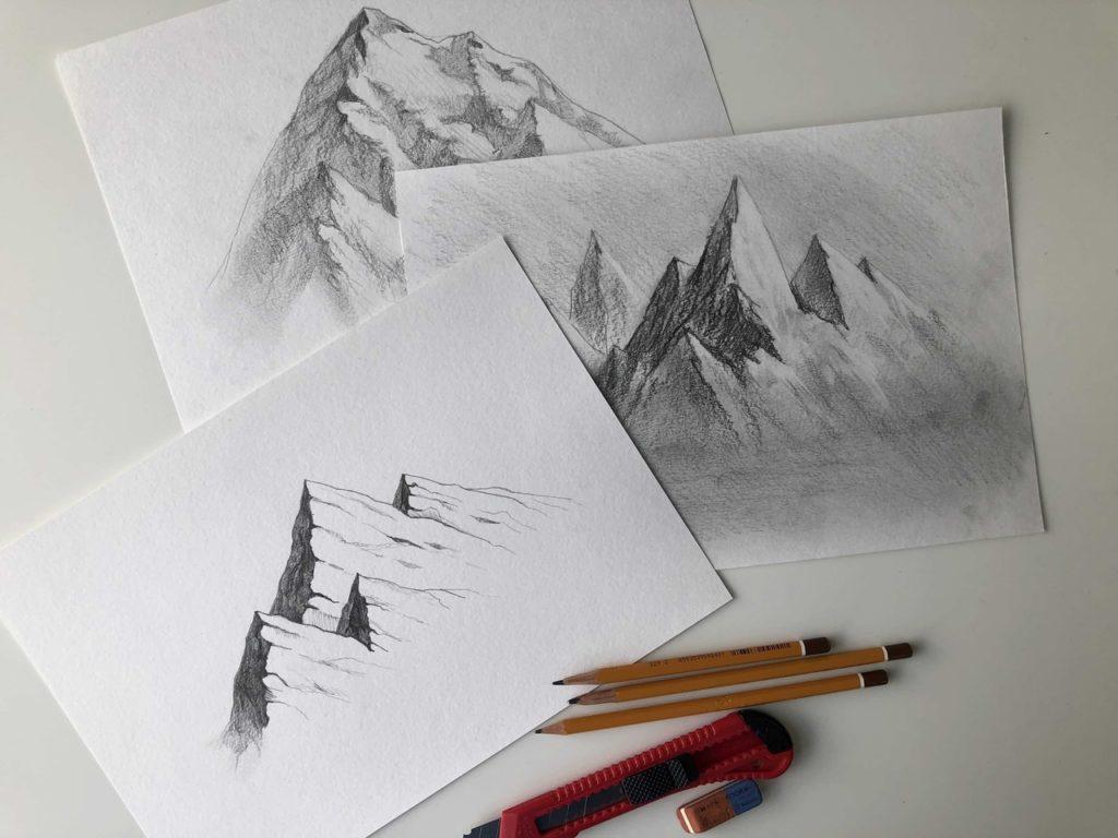 Как нарисовать горы карандашом - инструменты для рисунка - фото