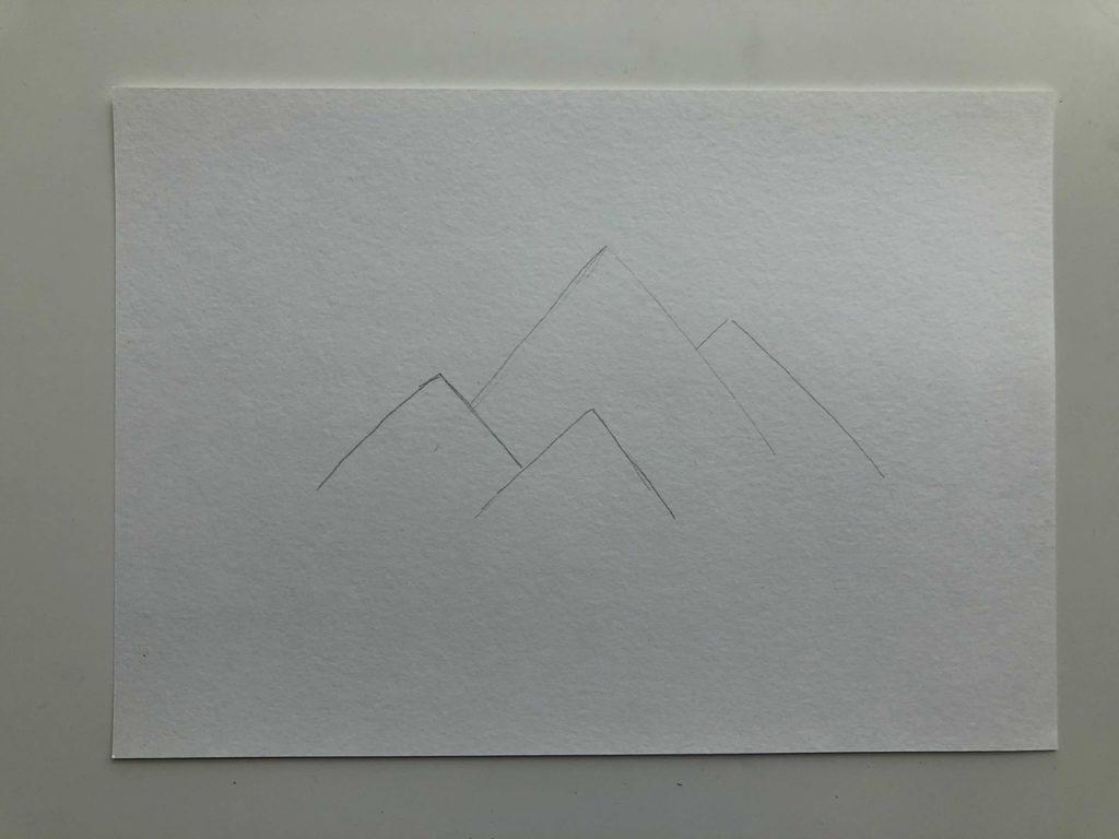 Как нарисовать горы карандашом - пейзаж с тенью - этап 1
