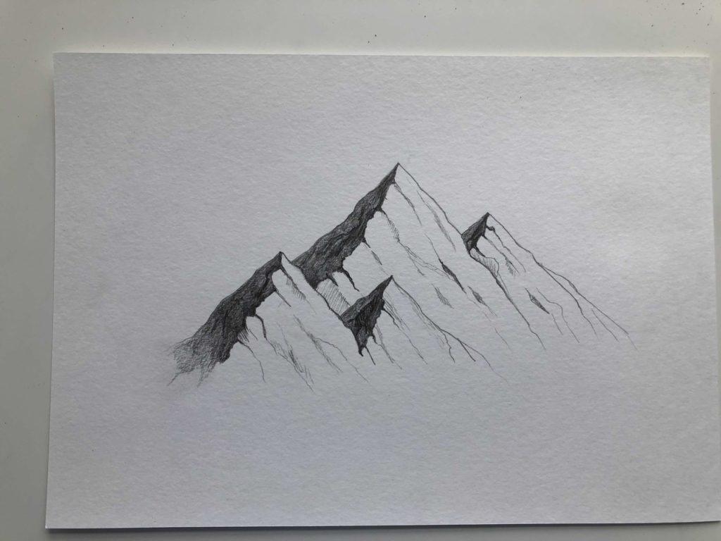 Как нарисовать горы карандашом - пейзаж с тенью - этап 3