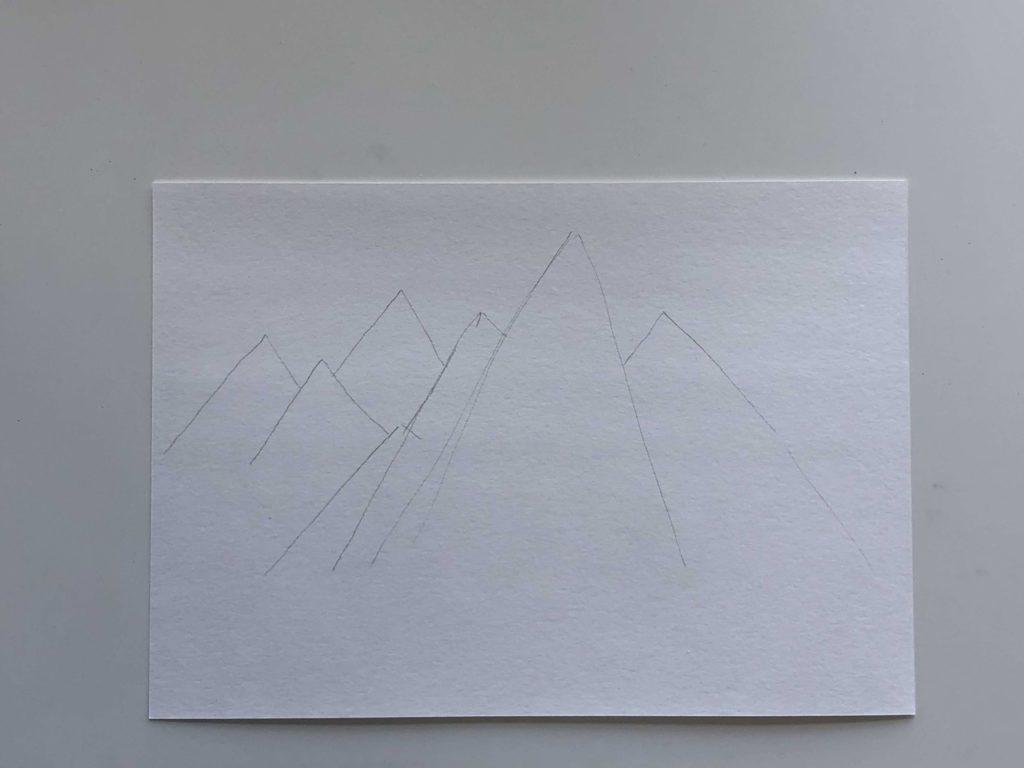 Как нарисовать горы карандашом - простой способ - этап 1