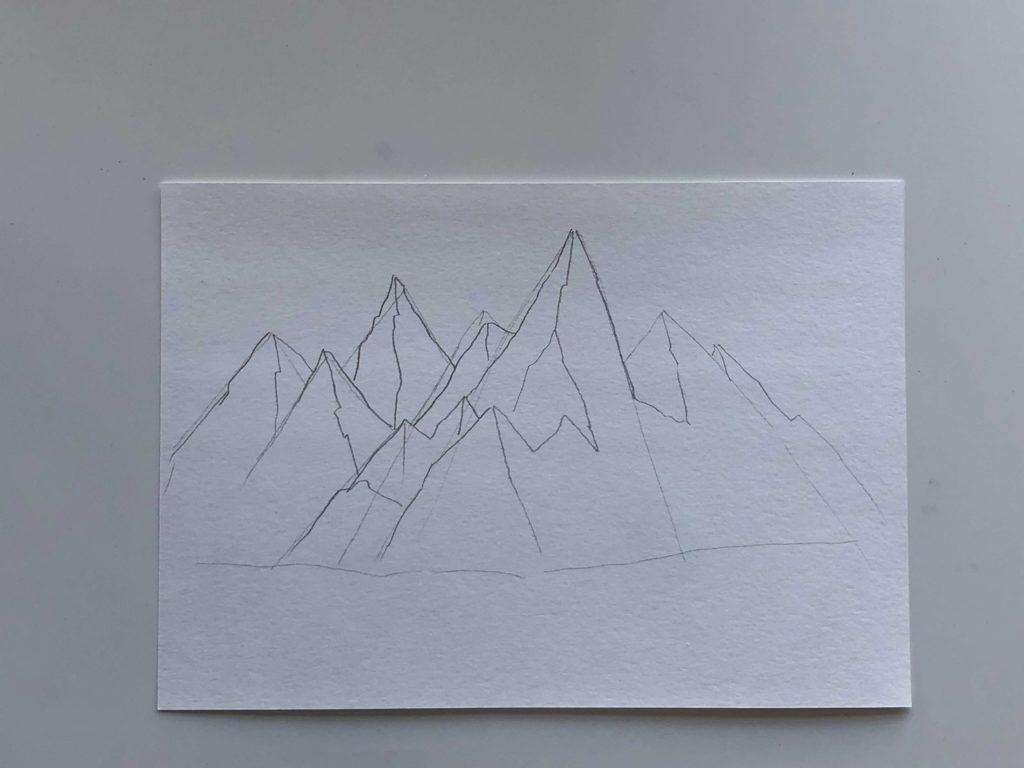 Как нарисовать горы карандашом - простой способ - этап 2