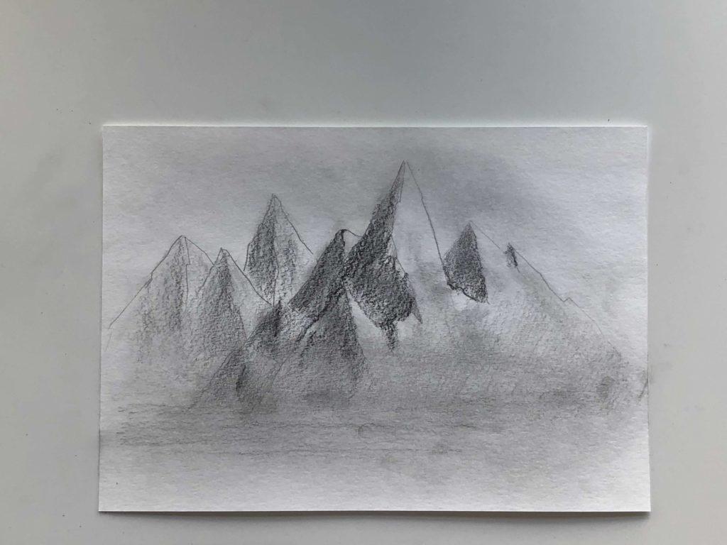Как нарисовать горы карандашом - простой способ - этап 3