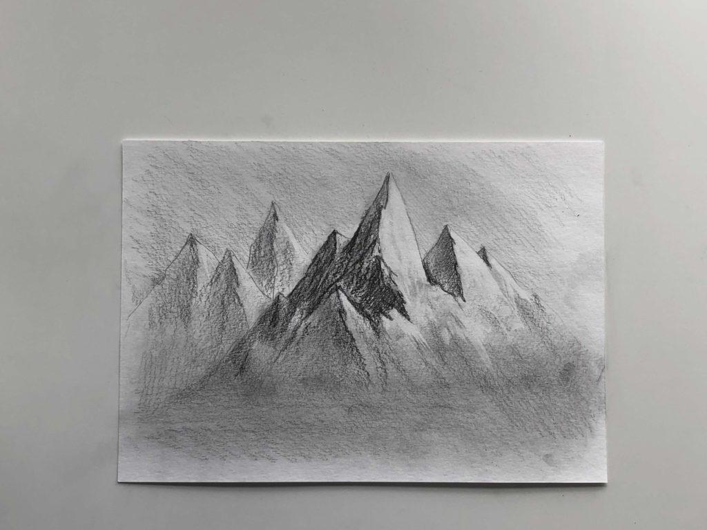 Как нарисовать горы карандашом - простой способ - этап 4