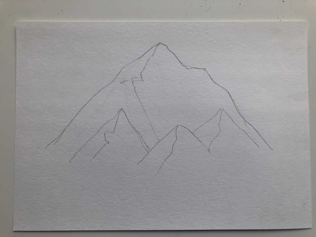 Как нарисовать горы карандашом - снежные горы - этап 1