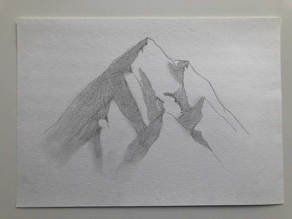 Как нарисовать горы карандашом - снежные горы - этап 2