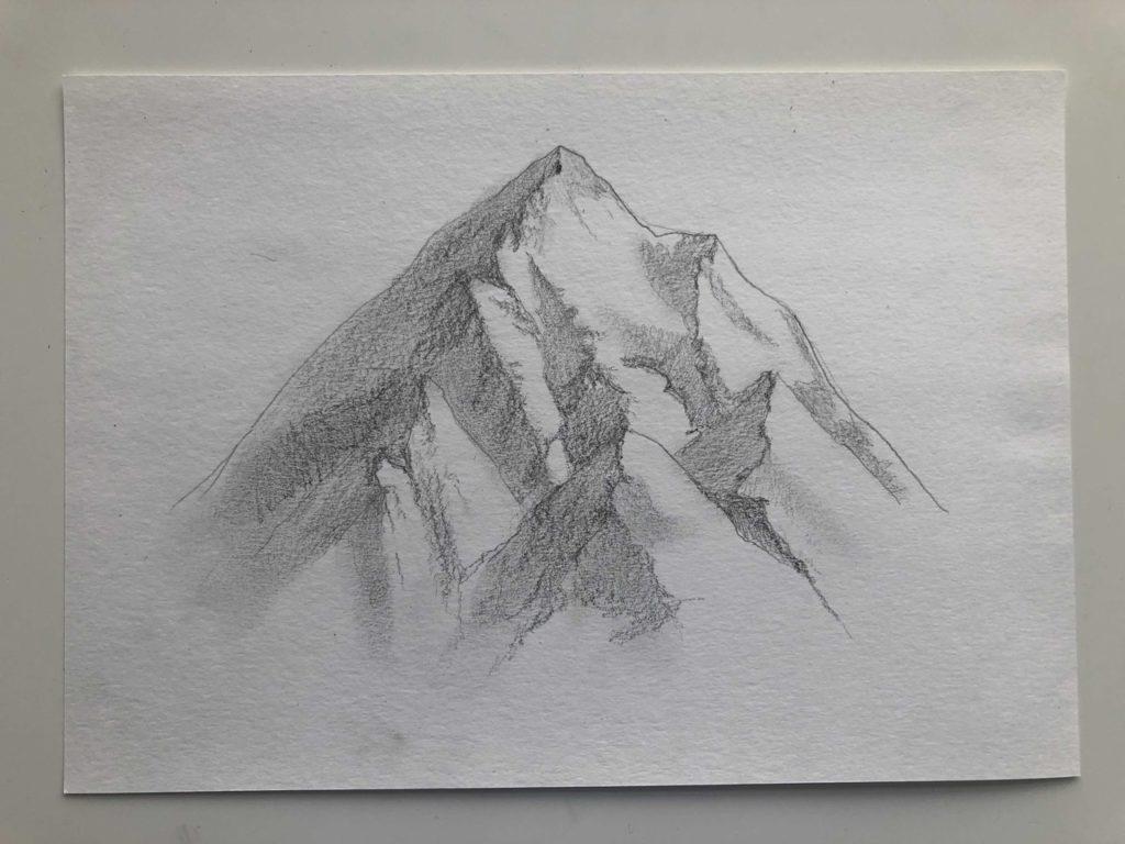 Как нарисовать горы карандашом - снежные горы - этап 3