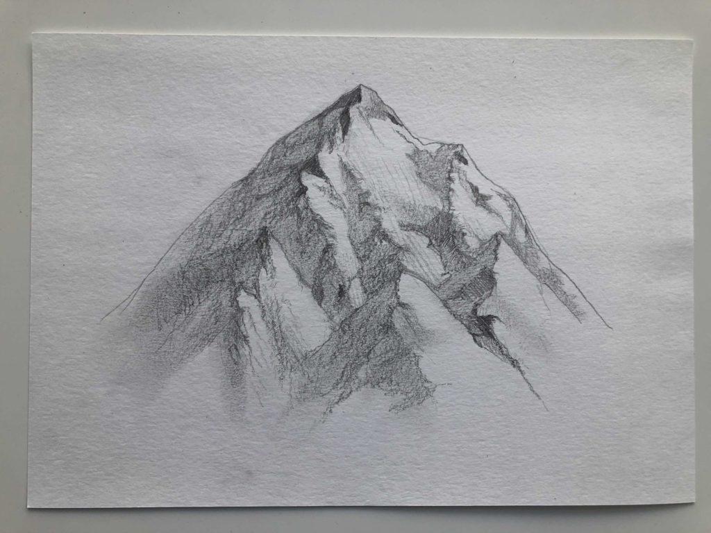 Как нарисовать горы карандашом - снежные горы - этап 4