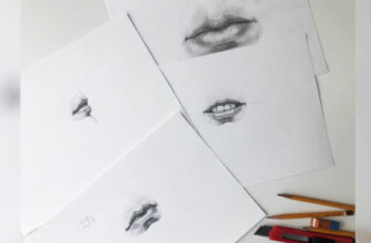 Как нарисовать губы карандашом - фото
