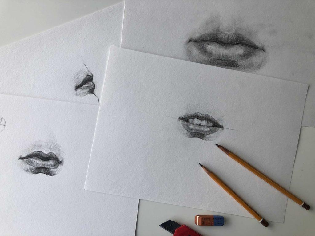 Как нарисовать губы карандашом - инвентарь - фото