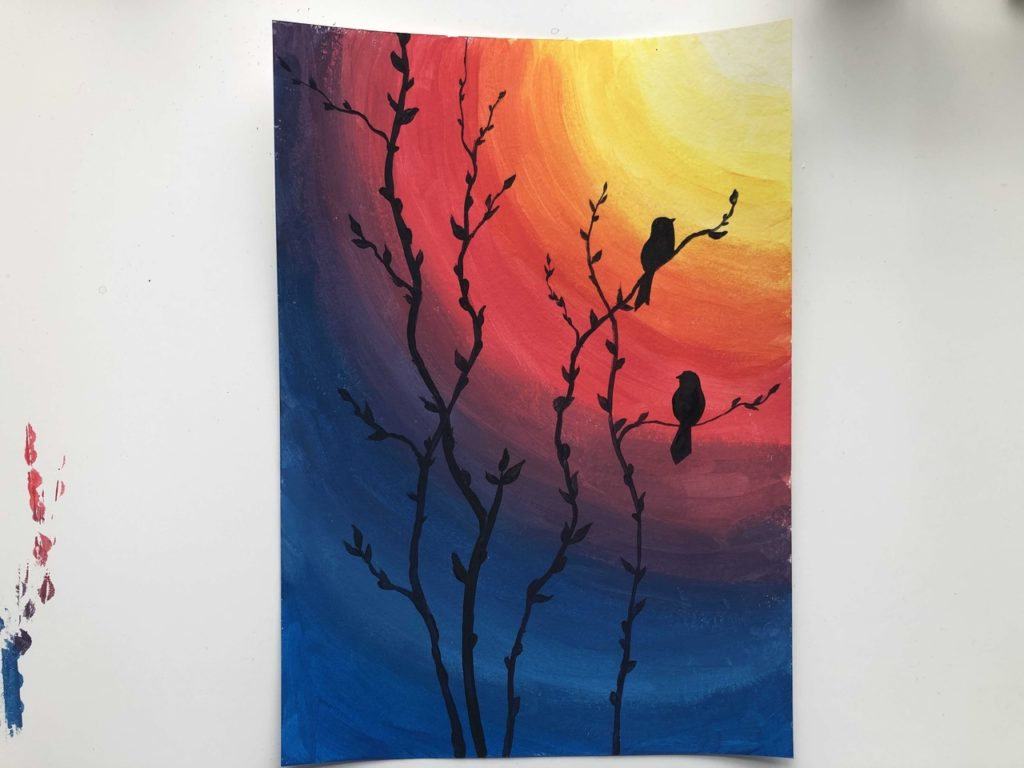 Птички на закате гуашью - этап 6