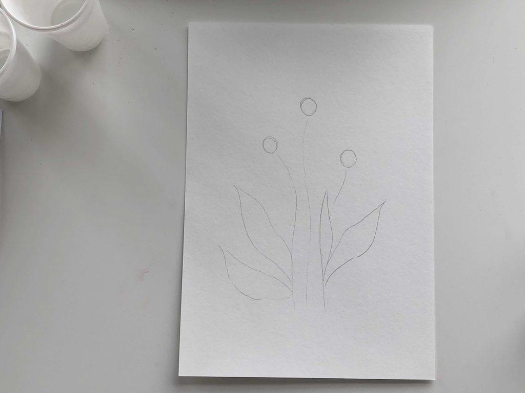 Как научиться рисовать цветы гуашью - этап 1