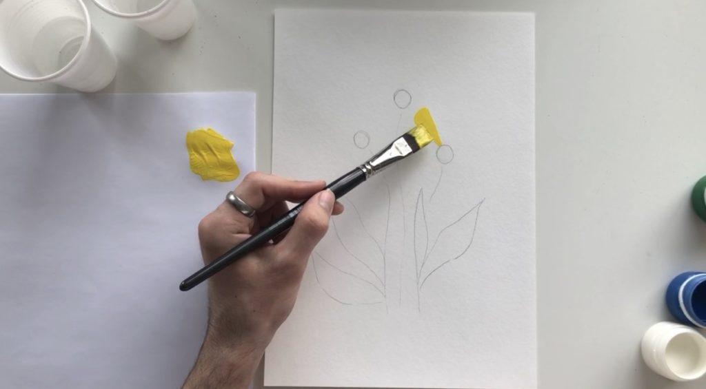 Как научиться рисовать цветы гуашью - этап 2 - фото 2