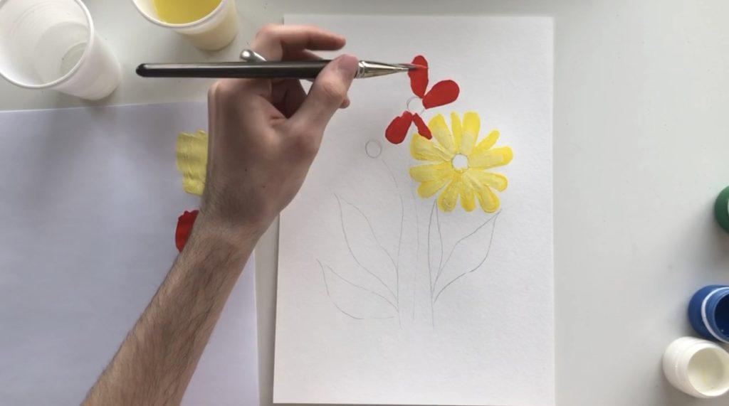 Как научиться рисовать цветы гуашью - этап 2 - фото 5